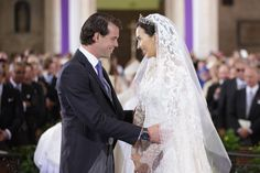 Princess Claire Of Luxembourg and Prince Felix Of Luxembourg are seen during their wedding ceremony at the Basilique Sainte Marie-Madeleine on September 21, 2013 Huwelijk, Koninklijke Huwelijken, Foto, Bruiloft, Koninklijke Bruiloft