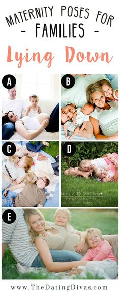 Maternity poses for families lying down.