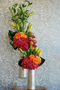 love the silver vases