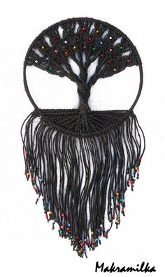 Handmade Macrame Wall Hanging  Tree of Life  Black by makramilka