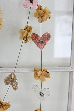 pretty paper hearts and flowers