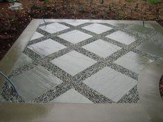 pebble mosaic between pavers