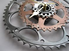 "Bicycle Clocks: large ""sprocket clocks"", handmade from reclaimed bicycle chainrings and sprockets"