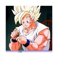 SSJ Goku trying to unsolve the 3 puzzle rings in the Cell Saga.