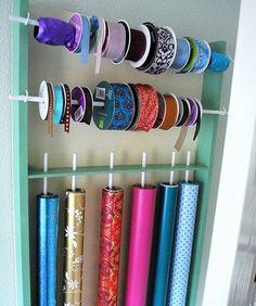 diy wrap and ribbon organizer