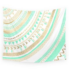 """Society6 Mint + Gold Tribal Wall Tapestry Small: 51"""" x 60"""""""