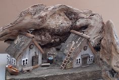 Wood Crafts, Fun Crafts, Magical Tree, Reclaimed Wood Art, Driftwood Art, Miniature Houses, Rustic Houses, Barn, Tree Houses