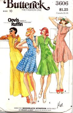 1970s Butterick 3606 Misses Designer Clingy T Shirt by mbchills