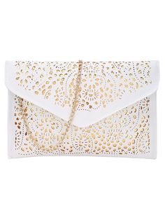 Laser Cut Envelope Clutch With ChainFor Women-romwe
