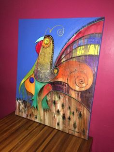 Título: Galo Tinto - Cód 006 - Artista: Edson Verti - Pintura Acrílica sobre Tela - Tamanho: 80x100