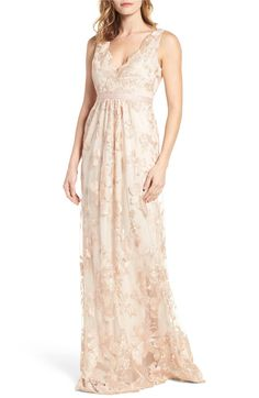 Main Image - Adrianna Papell Embroidered Tulle Gown