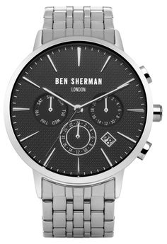 Ben Sherman 41mm Matte Black ROUND Dial Watch with Polished Case | Silver Strap