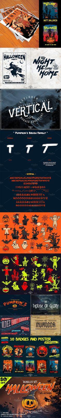 HALLOWEEN bundles SET (80%) Halloween Fonts, Display, Retro, Poster, Floor Space, Billboard, Retro Illustration