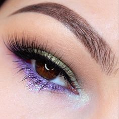 'Green & Purple EOTD' look by Maggie McDonald using Makeup Geek's Beaches and Cream, Dirty Martini, Peach Smoothie, Wisteria, Rapunzel, Caitlin Rose, and Jester eyeshadows and foiled eyeshadows.