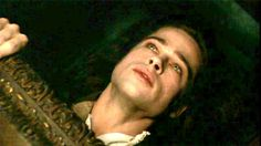 """""""Interview with the Vampire"""" (1994) >> Brad Pitt    (Daniel Malloy) """"And coffins? How about coffins?"""" (Louis) """"Coffins. Coffins, unfortunately, are a necessity."""" (Lestat) """"Don't worry. Soon... you'll be sleeping as soundly as you've ever slept. And when you awake... I'll be waiting for you... and so will all the world."""" <3"""