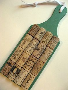 Wine Cork Trivet or Small Message Board in Sage Green - Kitchen Bar Home Decor