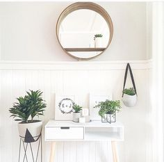 Gorgeous little nook, beautifully styled by Featuring the hanging planter, hall table and round wall mirror, along with a many other goodies! Do you have a Kmart corner in your home? Style At Home, Two Tone Table, Kmart Home, Kmart Decor, Interior Decorating, Interior Design, Fashion Room, Metal Walls, Wall Shelves