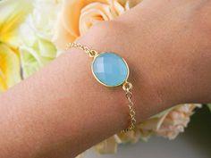Bezel Aqua Chalcedony bracelet, Gold filled ADJUSTABLE, Bridesmaid Gifts, Wedding Jewelry, Birthday, Anniversary, Simple Everyday Jewelry via Etsy