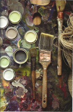 Hans Blomquist via Elle Decoration: Farrow & Ball Paints--Cord, Cornforth White, Charleston Gray, Mouse's Back, and Cooking Apple Green