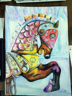 Carousel Horse 2 Abstract Watercolor Painting Art Print by Artist DJ Rogers