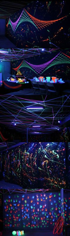 Some amazing glow-in-the-dark tips & ideas.  How about glow yarn and splatter paint -- perhaps in the shape of a giant spider web!  Tide Liquid Laundry Detergent & Clorox 2 glow in the dark!  Who knew?