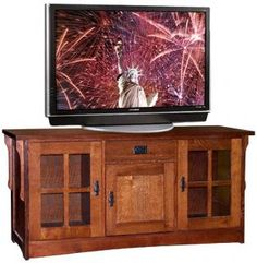 Arts & Crafts Mission Style Furniture Oak TV Stand Audio Cabinet ...
