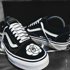 Image discovered by Ina. Find images and videos about shoes, chanel and vans on We Heart It - the app to get lost in what you love. Vans Sneakers, Tenis Vans, Vans Shoes, Shoes Heels, Cute Vans, Sneaker Heels, Dream Shoes, Custom Shoes, Sock Shoes