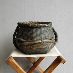 Vintage  Basket  Antique Hand Woven Handled by solsticehome