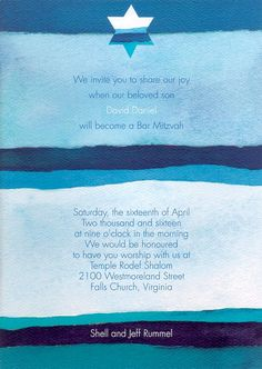 Abiding Faith in Blue Bar Mitzvah Invitation by popular artist Shell Rummel!  #Invitation #shellrummel
