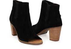 Black Suede Perforated Womens Majorca Peep Toe Bootie