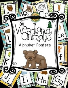 I am doing a forest theme in my classroom this year! This Alphabet Set is just one of many coordinating products.  They are sold individually and in a huge Woodland Animals or Forest Theme Classroom Decor Bundle.  You can check it out here. You will get all 26 letters with the following pictures.