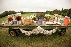 """farm wedding drink station. Perfect for our barn wedding. ;)"" because nothing says poor like having your wedding surrounded by cow shit and mud"