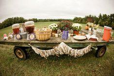 farm wedding drink station. Perfect for our barn wedding. ;)