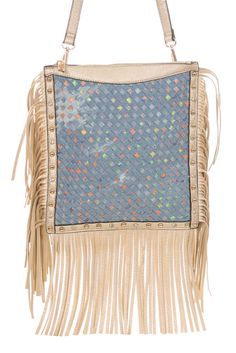 Fringe Edged Studs And Weave Accented Messenger Bag #GetEverythingElse #MessengerCrossBody