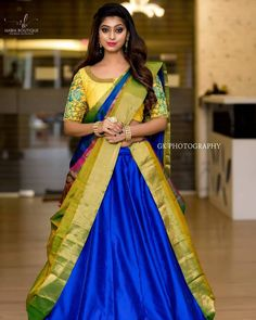 Bright in yellow and blue, bold eyes and a lovely smile. The intricacies of the beautiful blouse and the cancan saree is drape is enough to… Indian Lehenga, Lehenga Saree Design, Lehenga Style Saree, Lehnga Dress, Saree Look, Bridal Lehenga, Saree Wedding, Lehenga Designs, Half Saree Designs