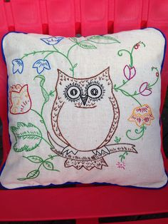 Embroidered owl pillow by yorkpatty on Etsy (Home & Living, Home Décor, Decorative Pillows, handmade, team etsyrain, owl, pillow, emboirdered pillow, flowers, handstitched, woodland, floral, bird, throw pillow, bedding, house warming)