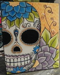 sugar skull Day Of The Dead ORIGINAL painting CANVAS art by Megan. $65.00, via Etsy.