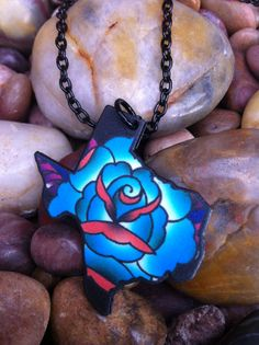 Texas Blue Rose Tattoo Necklace by flashbombart on Etsy, $16.00. An AK one would be adorbs