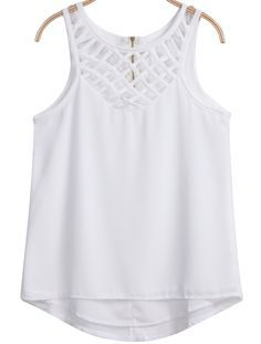 To find out about the White Sleeveless Hollow Zipper Chiffon Vest at SHEIN, part of our latest Tank Tops & Camis ready to shop online today! Kurtis Tops, African Dresses For Women, Western Wear, White Tops, Boho Fashion, Summer Outfits, Chiffon, Casual Wear, Blouses