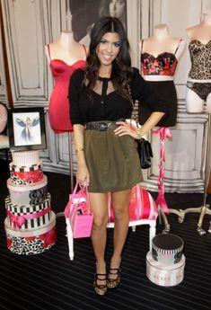 Kourtney Kardashian wearing Chanel 2.55 Classic Flap Bag Fendi Leopard/Black Platform Pump Cartier Love Bracelet Myne Tina Skirt in Army