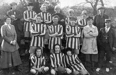 High Spen Women's football team  Yes, soccer in the US, but great pic of a women's team, 1920s