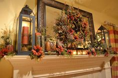 Fall Mantel - I so like the richness of this look. It's warm and inviting and love the giant lanterns that flank the mirror/Fall wreath. Just love it.