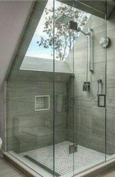 Tremendous Attic truss remodel,Attic bathroom exhaust fan and Attic bathroom design. Loft Bathroom, Dream Bathrooms, Bathroom Interior, Modern Bathroom, Skylight Bathroom, Master Bathrooms, Loft Ensuite, Skylight Glass, Rain Shower Bathroom