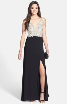 Free shipping and returns on Blondie Nites 'Sasha' Illusion Beaded Bodice Gown (Juniors) at Nordstrom.com. Pearly beads and iridescent crystals are embroidered into decadent, eye-catching flourishes over the V-neck bodice of this sleekly flowing gown.