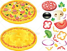 Buy Pizza and Ingredients Vector Illustration by on GraphicRiver. Pizza and ingredients: tomatoes, salami, broccoli, black olives and other. Vector illustration Zip file includes: - e. Summer Diy, Summer Crafts, Christmas Crafts For Kids, Simple Christmas, Drawing For Kids, Art For Kids, Pizza Kunst, Pizza Vector, Pizza Art
