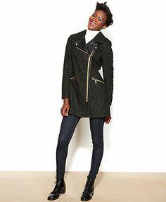 BCBGeneration Coat, Asymmetrical Exposed-Zipper Tweed