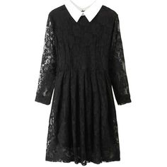 Blackfive Turn Down Collar Mid Rise Lace Dress (423.175 IDR) ❤ liked on Polyvore featuring dresses, blackfive, black, long lace dress, black print dress, zipper dress, print dress and lace print dress