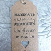 Wedding parties are great fun, but the morning after isn't!! If you have a lot of party animals coming to your wedding,why not give them a hangover kit for their sore heads – use this idea as a wedding favour or just something small and additional to your favours, for the party animals to take home!!