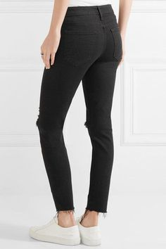 Mother - Looker Distressed Mid-rise Skinny Jeans - Black - 27