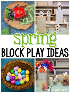 Spring Block Center Play Ideas in Preschool Here are some Spring block play ideas you can use to transform your block center and spark kids' creativity. Adding simple, seasonal items to the block cent Block Center Preschool, Preschool Centers, Preschool Themes, Spring Preschool Theme, Preschool Class, Bug Activities, Spring Activities, Indoor Activities, Therapy Activities